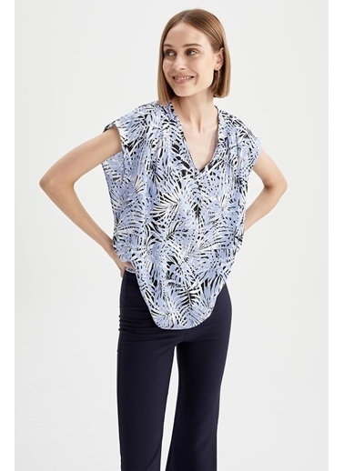DeFacto Tropik Desenli V Yaka Relax Fit Kolsuz Bluz Mor